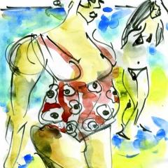 Femme au maillot à fleur