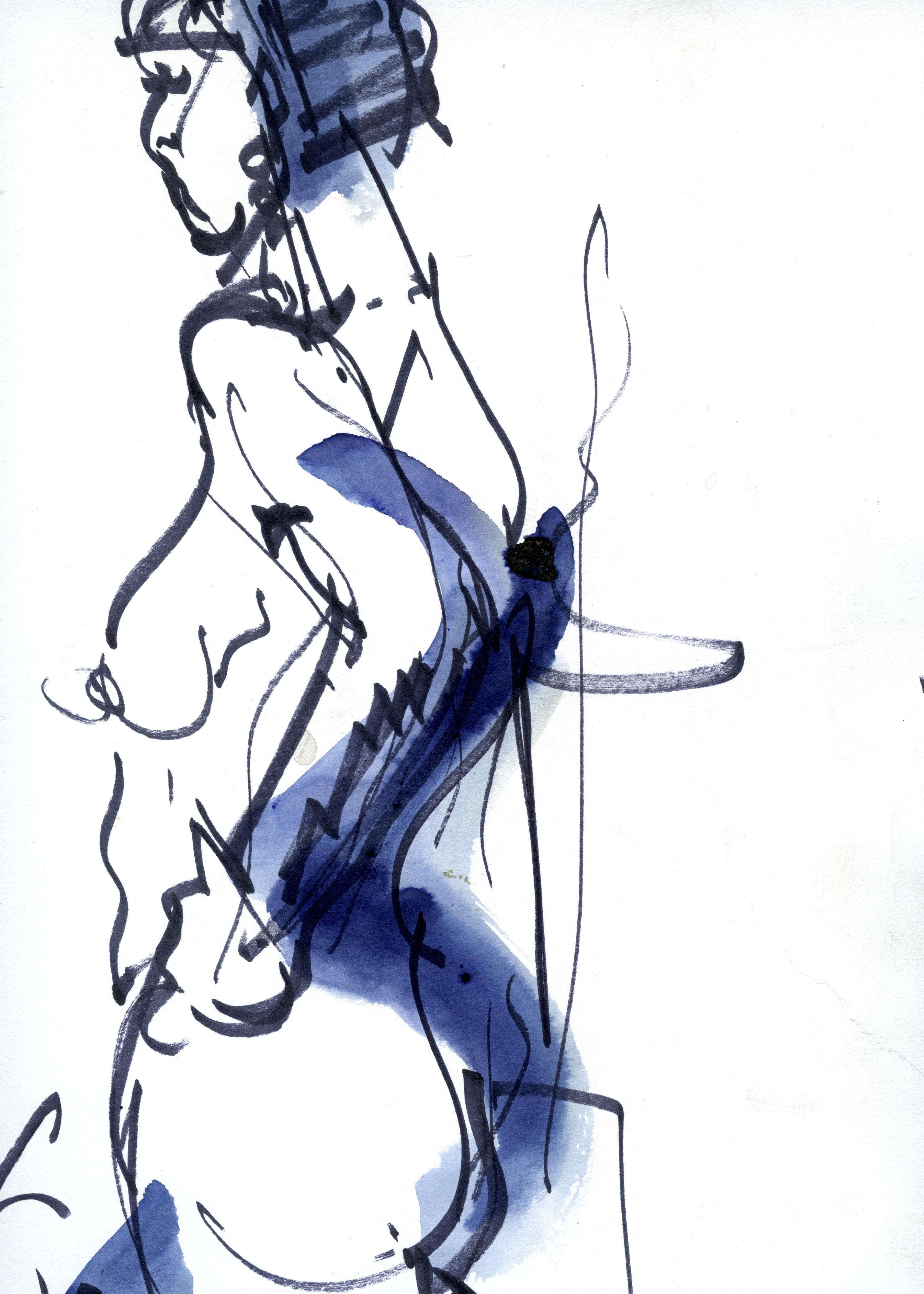 Femme bleue qui marche